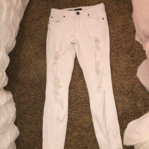 White Ripped Denim Skinny Jeans